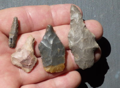 Group of 4 Native American Indian Flint Drills