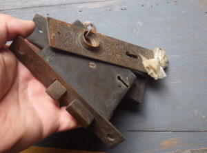 Antique Hardware – 1889 Russell and Erwin Brass Door Lock and Key