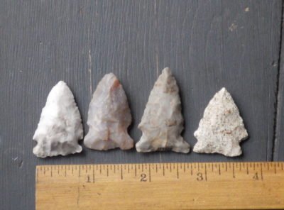 4 Notched Native American Arrowheads