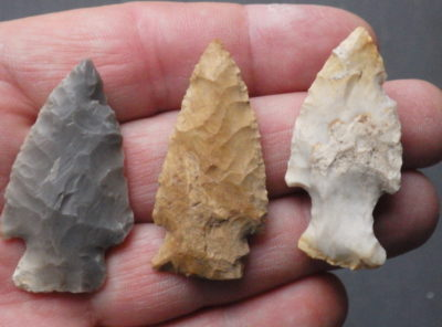 3 Native American Indian Arrowheads