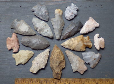 Collection of 16 Native American Arrowheads